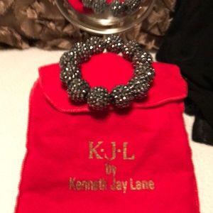 Kenneth Jay Lane Pewter Elastic Bracelet